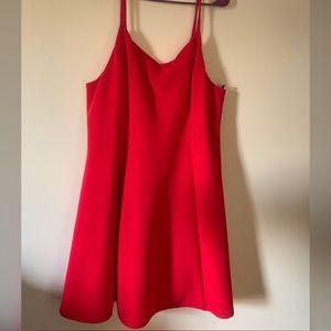 Spaghetti strap Ribbed Red dress